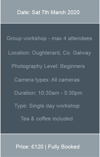 Next available date for photography workshops in Galway