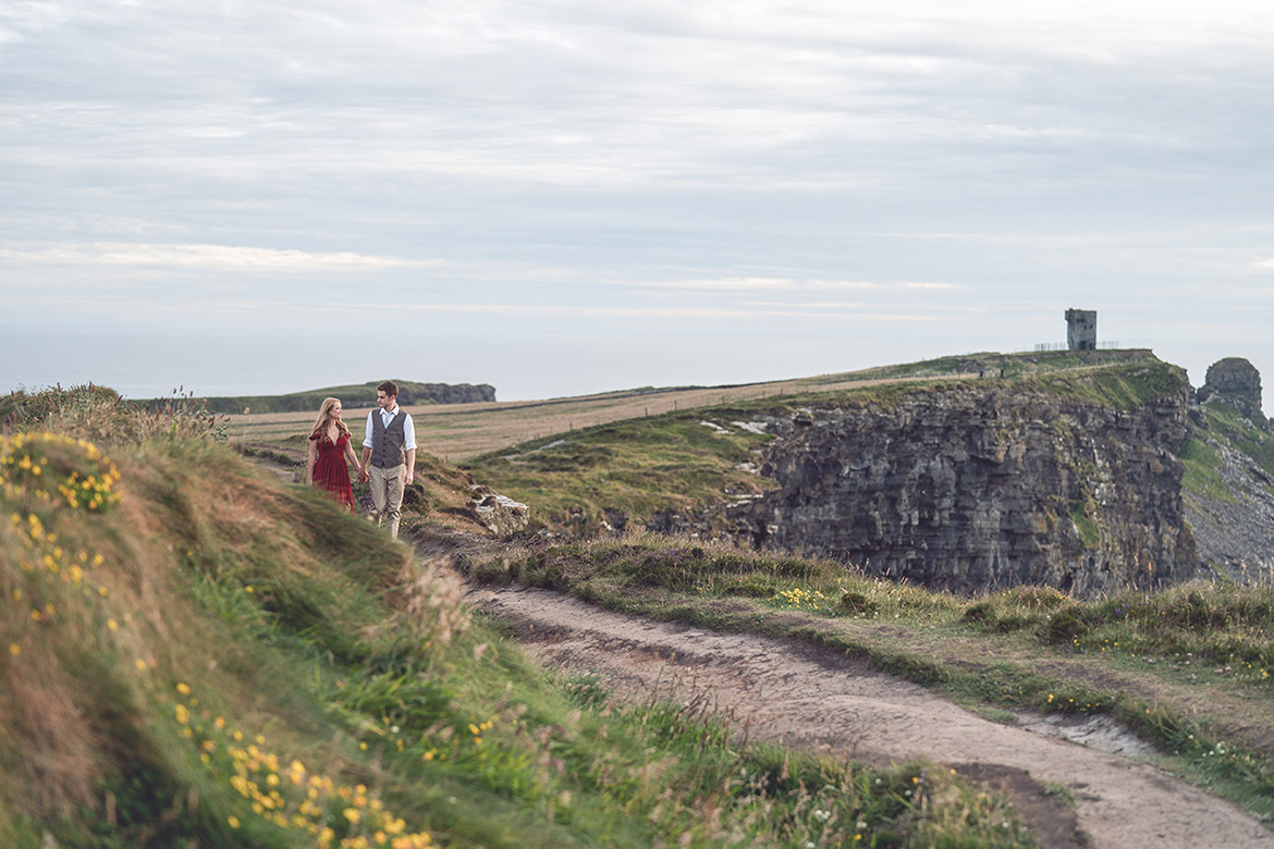 Engagement photography for destination wedding at the cliffs of moher