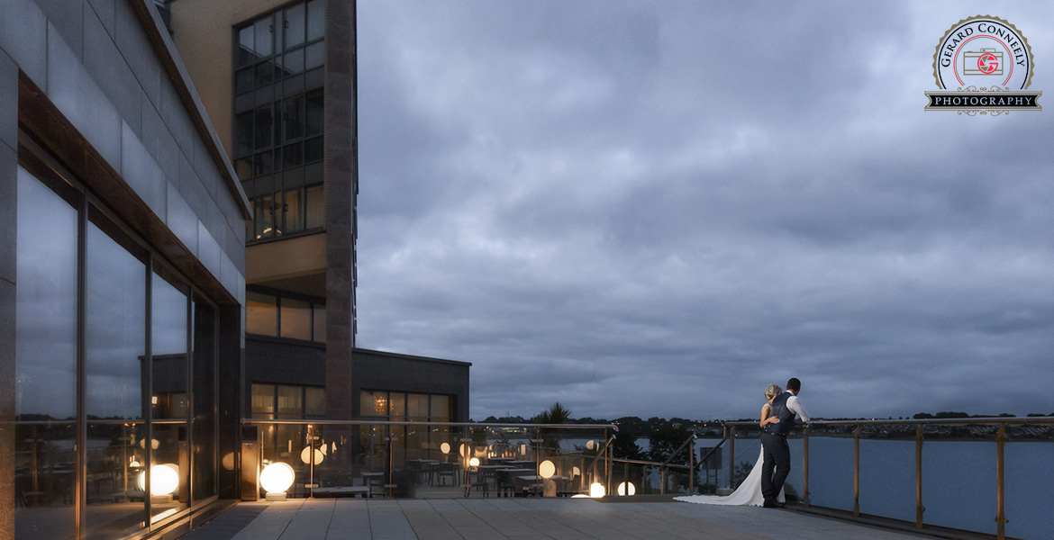 Bride and groom at the radisson hotel in galway