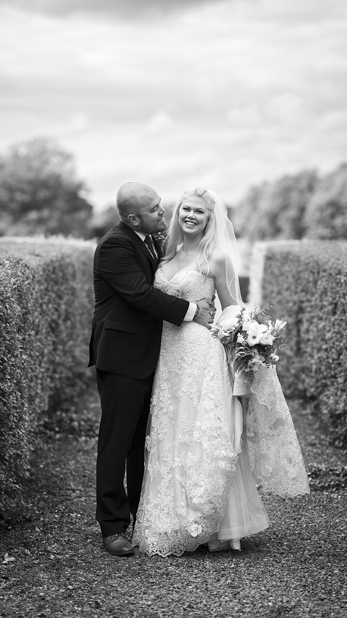a wedding photo in black and white for couples looking for ideas on a stress free wedding day in Ireland
