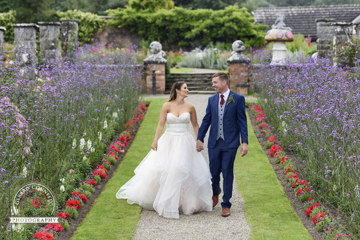 Dromoland Castle wedding photography in the walled garden