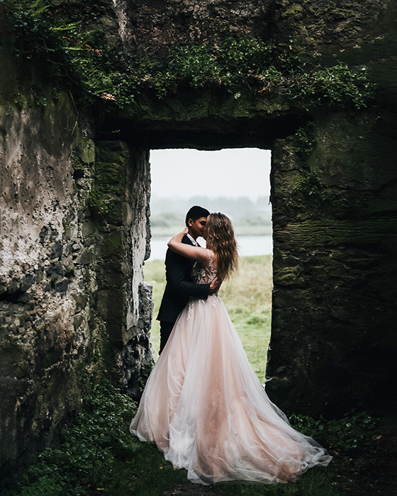 Elopement wedding photography at Menlo Castle in Galway by Gerard Conneely Photography